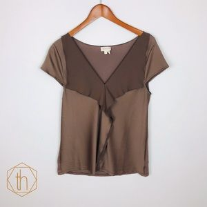 Meadow Rue cascade blouse medium taupe